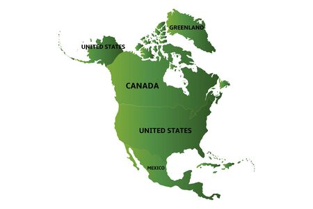 green map of north america