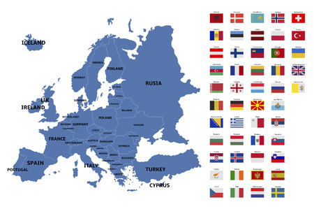 europe map and flags Vectores