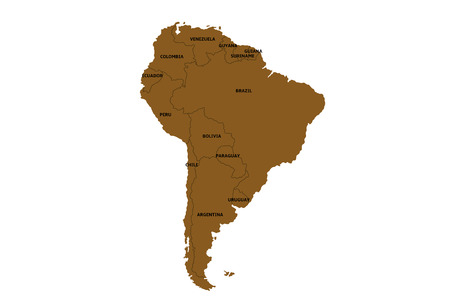 map of south america with countries Reklamní fotografie - 71814236