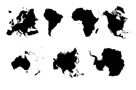 Set silhouettes 7 continents