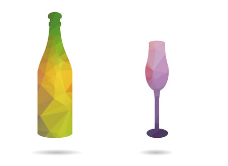 low poly bottle and cup