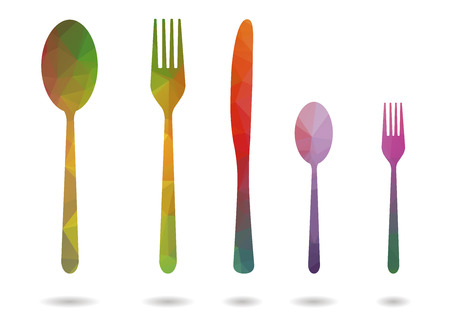 low poly five cutlery