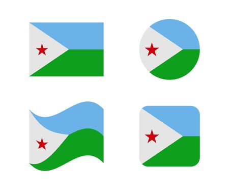 set 4 flags of djibouti