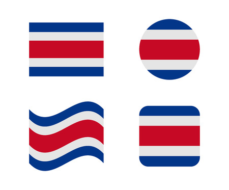 set 4 flags of costa rica Illustration