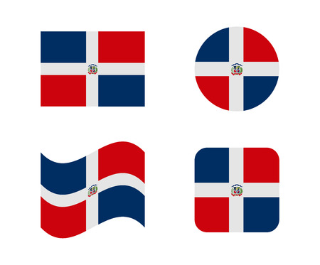 set 4 flags of dominican rep