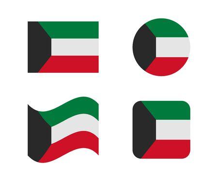 set 4 flags of kuwait Illustration