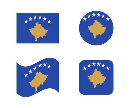 Set 4 flags of kosovo