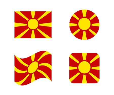 set 4 flags of macedonia