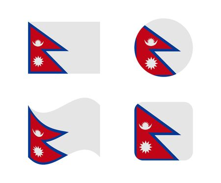 set 4 flags of nepal Illustration