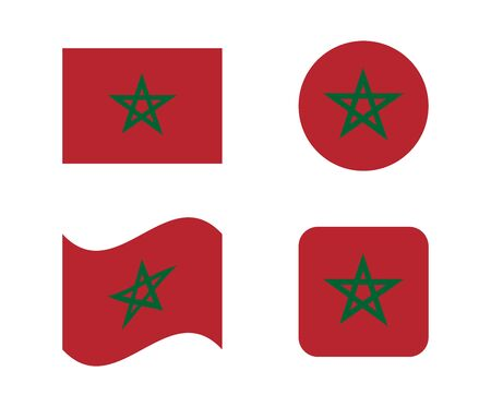 set 4 flags of morocco