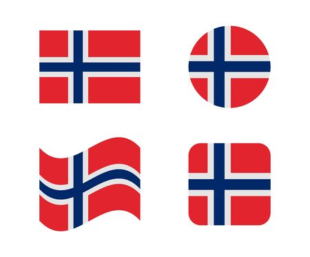 set 4 flags of norway