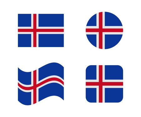set 4 flags of iceland Illustration