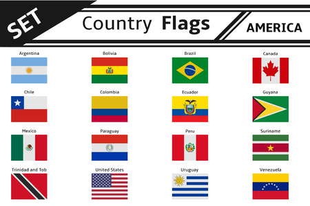 set countries flags america Illustration