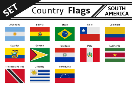 set countries flags south america