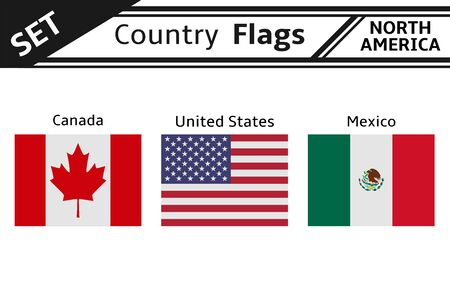 set countries flags north america Illustration