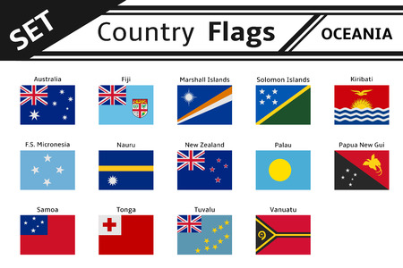 set countries flags oceania