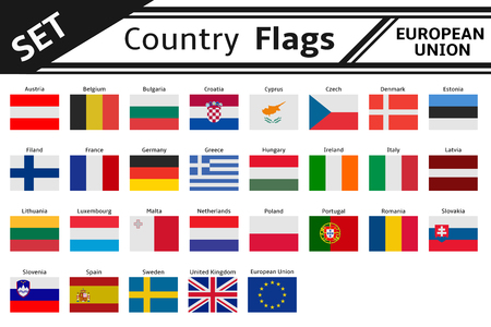set countries flags europe