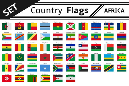set countries flags africa Illustration