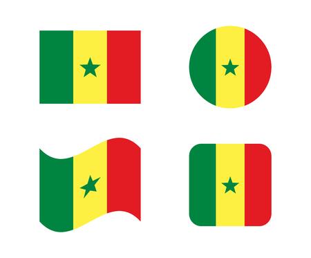 Set 4 flags of Senegal Illustration