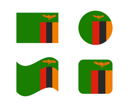set 4 flags of zambia