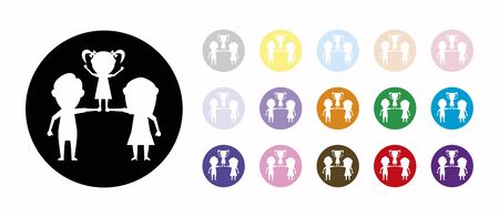 marriage and daughter set icons