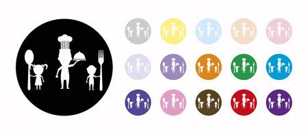 family eating set icons