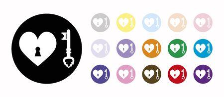 key heart set icons
