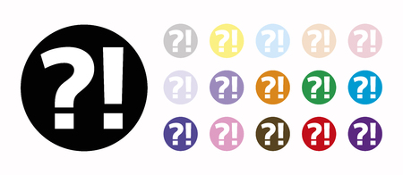 enquiry: interrogation and exclamation set icons Illustration