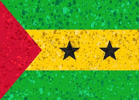 Sao Tome flag grunge illustration Illustration
