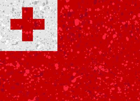 Tonga flag grunge illustration Illustration