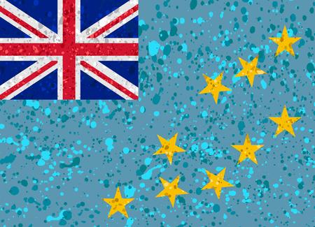 Tuvalu flag grunge illustration Illustration
