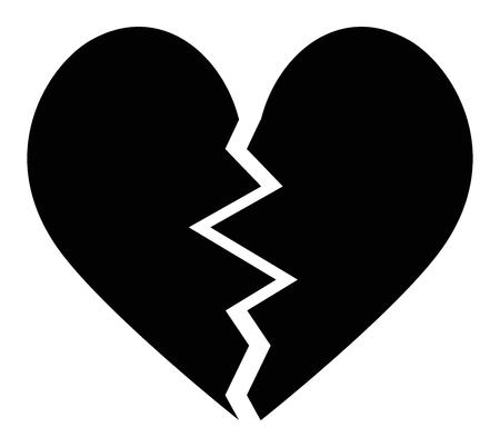 Gebroken hart zwart pictogram vector Stock Illustratie