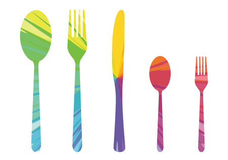 Five cutlery multicolored abstract icon