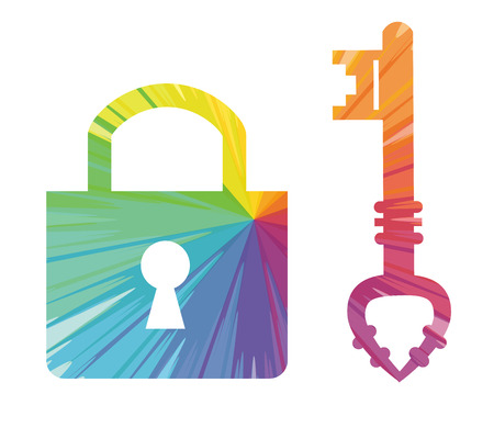 private security: Key padlock multicolored abstract icon