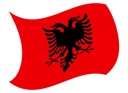 albania flag moved by the wind