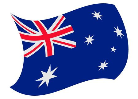 australia flag moved by the wind