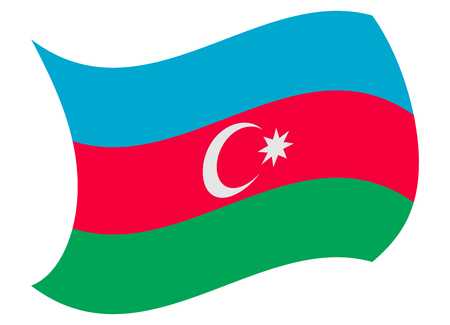 azerbaijan flag moved by the wind Illustration