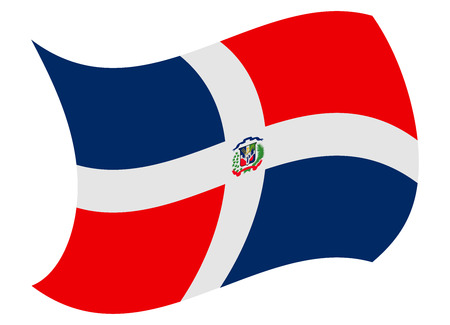 dominican rep flag moved by the wind Иллюстрация