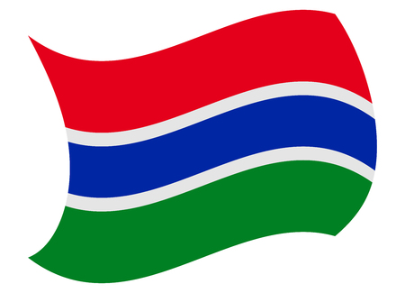 gambia flag moved by the wind