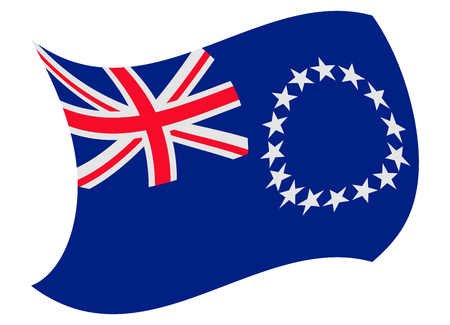 cook islands flag moved by the wind