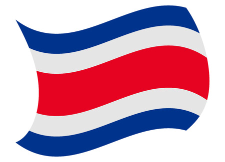 costa rica flag moved by the wind