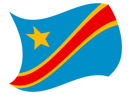 dr congo flag moved by the wind
