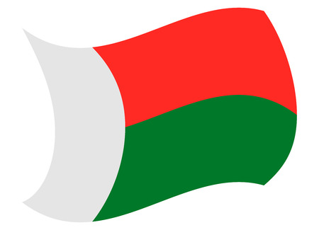 madagascar flag moved by the wind Illustration
