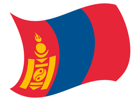 mongolia flag moved by the wind