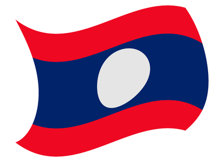 laos flag moved by the wind Illustration