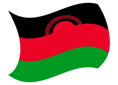 malawi flag moved by the wind Illustration