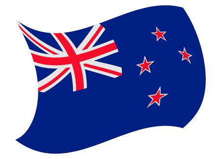 new zealand flag moved by the wind
