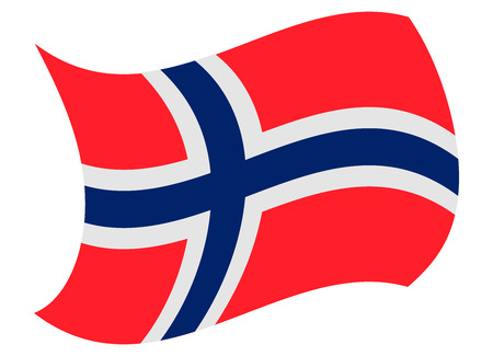 norway flag moved by the wind Illustration