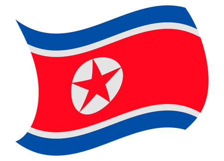 north korea flag moved by the wind