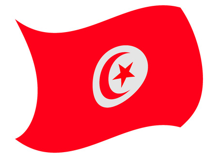 tunisia flag moved by the wind